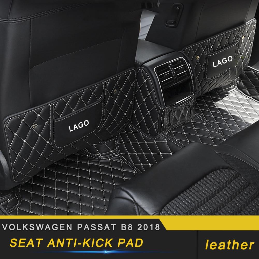Otomobiller ve Motosikletler'ten Otomotiv İçi Çıkartmaları'de Volkswagen passat için B8 2018 araç bakım koltuğu arka koruyucu kapak deri Anti kick Mat Pad yastık iç aksesuarları title=