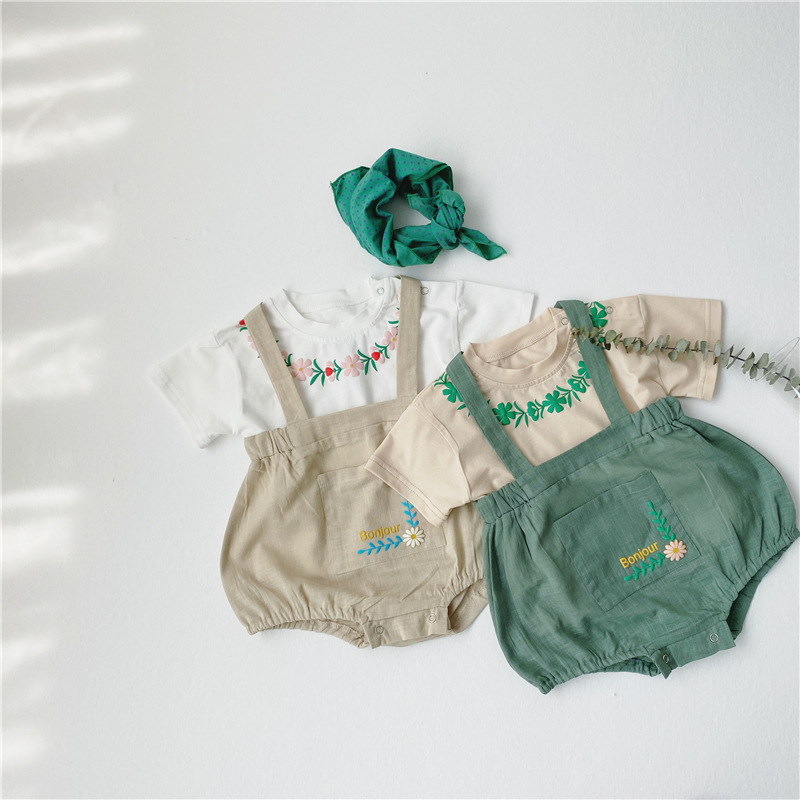 MILANCEL Baby Clothes Embrodiery Tee  And Pumkin Bodysuits Baby Boys Clothing Set  Korean Baby Outfit
