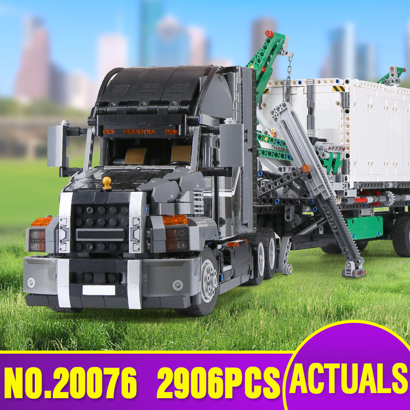 DHL 20076 Technic Car Compatible With Leoging 42078 Container Truck Set Building Blocks Bricks Educational Kids Car Toys As Gift