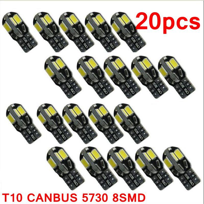 20PCS Car Interior Light Led Interior Bulb Canbus Error Free T10 White 5730 8SMD LED 12V Car Side Wedge Lamp Auto Bulb