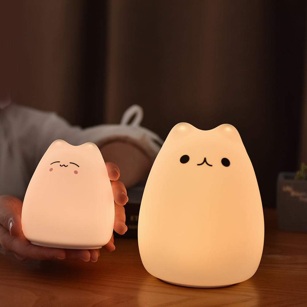 Cat LED Night Light Remote Control Bedside Night Lamp Color Light Children Cute Kid Lamp Bedroom Light Gift Children Toy