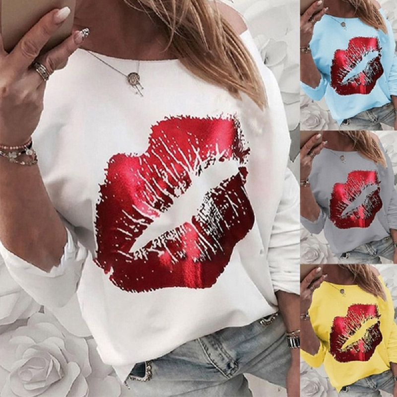 Women Off Shoulder Print Red Lips Blouse Female Long Sleeve Solid O-neck Casual Blouses Spring Streetwear Tops Plus Size 5XL