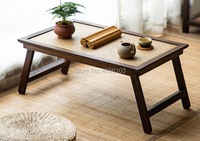 Southeast Asian Style Wooden Tray Table Foldable Legs Window Small Table Thailand Crafts Furniture Home Bamboo Tea Table