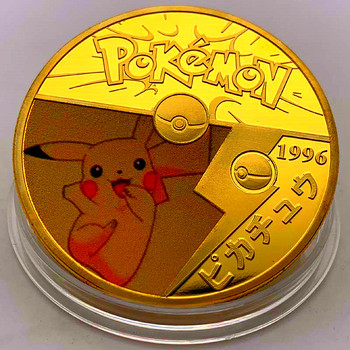 цена на Pikachu Gold Plated Coins Collectibles with Holder Japanese Animal Coin Original Anime Challenge Coins Gift Free Shipping