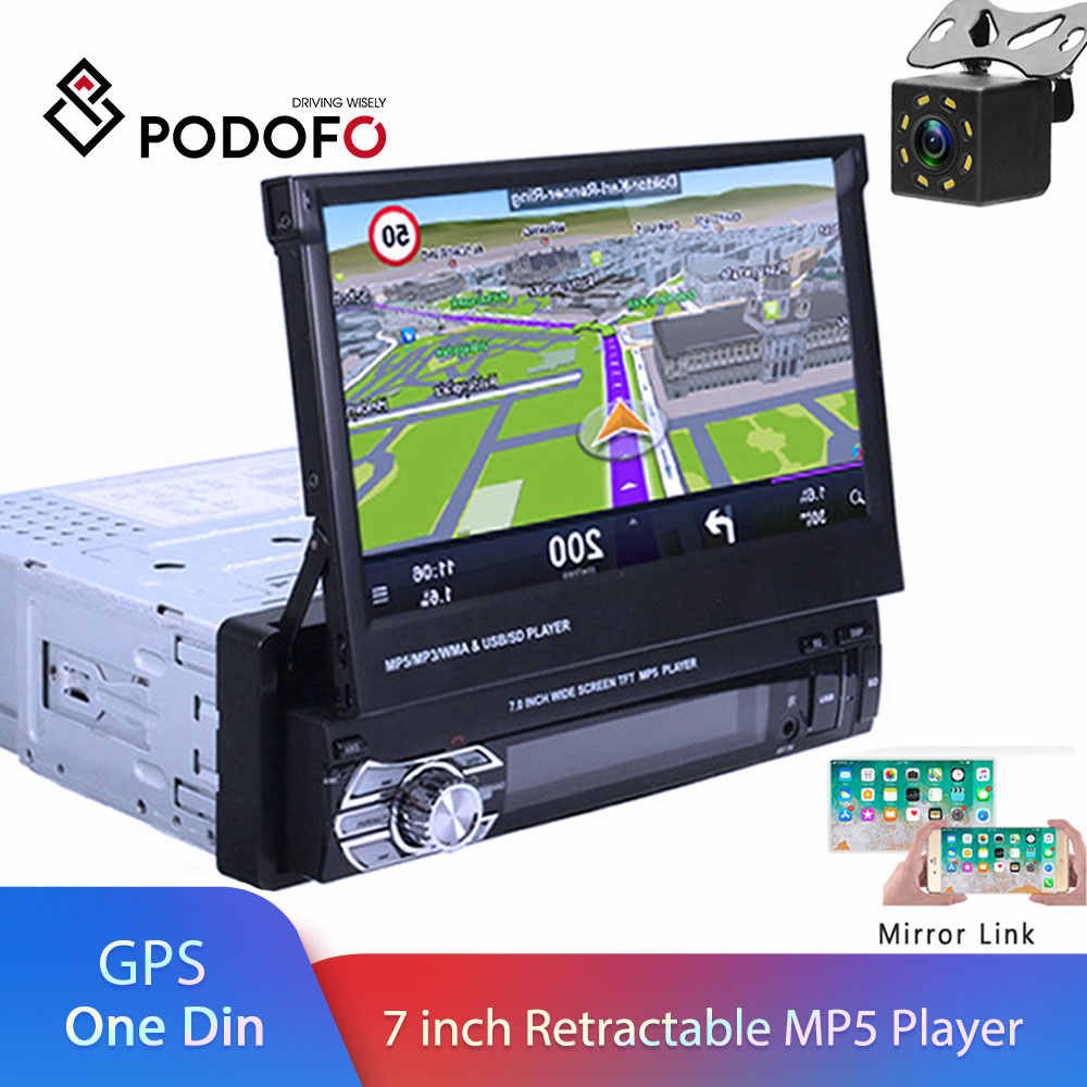 "Podofo din coche radio MP5 Player navegación GPS Multimedia coche estéreo de audio Bluetooth 7 ""HD retráctil Autoradio AUX-IN/FM"