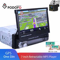 "Podofo One din Car radio MP5 Player GPS Navigation Multimedia car audio stereo Bluetooth 7"" HD Retractable Autoradio AUX-IN /FM"