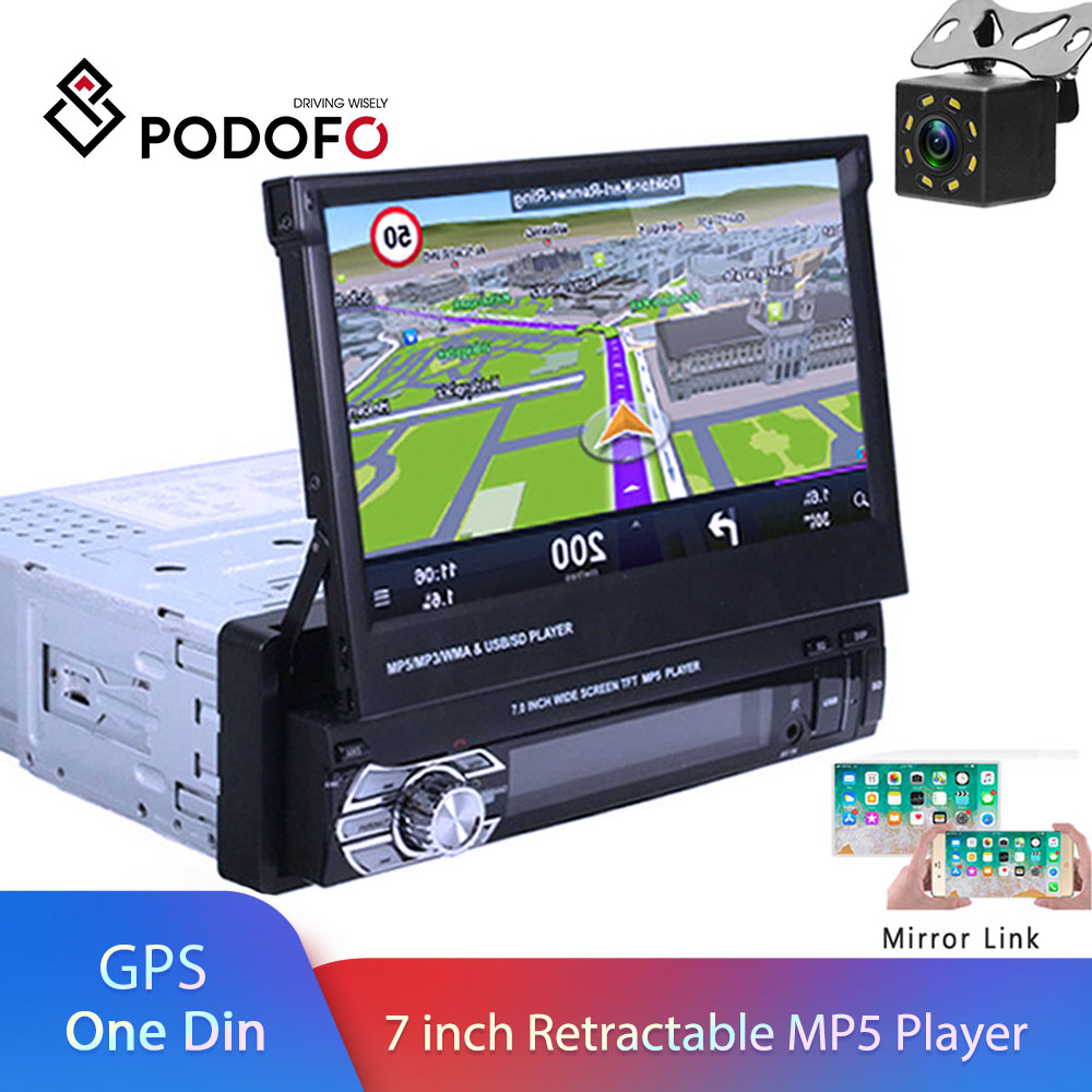 Podofo One din Car radio MP5 Player GPS Navigation Multimedia car audio stereo Bluetooth 7″ HD Retractable Autoradio AUX-IN /FM