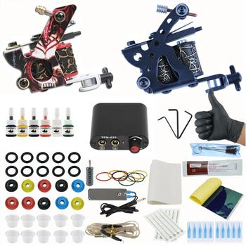 Tattoo Set 2 Coils Guns 6Bottle Pigment Inks Sets Power Supply Permanent Makeup Complete Tattoo Machine Kit complete tattoo kits 8 wrap coils guns machine 1 6oz black tattoo ink sets power supply disposable needle free shipping