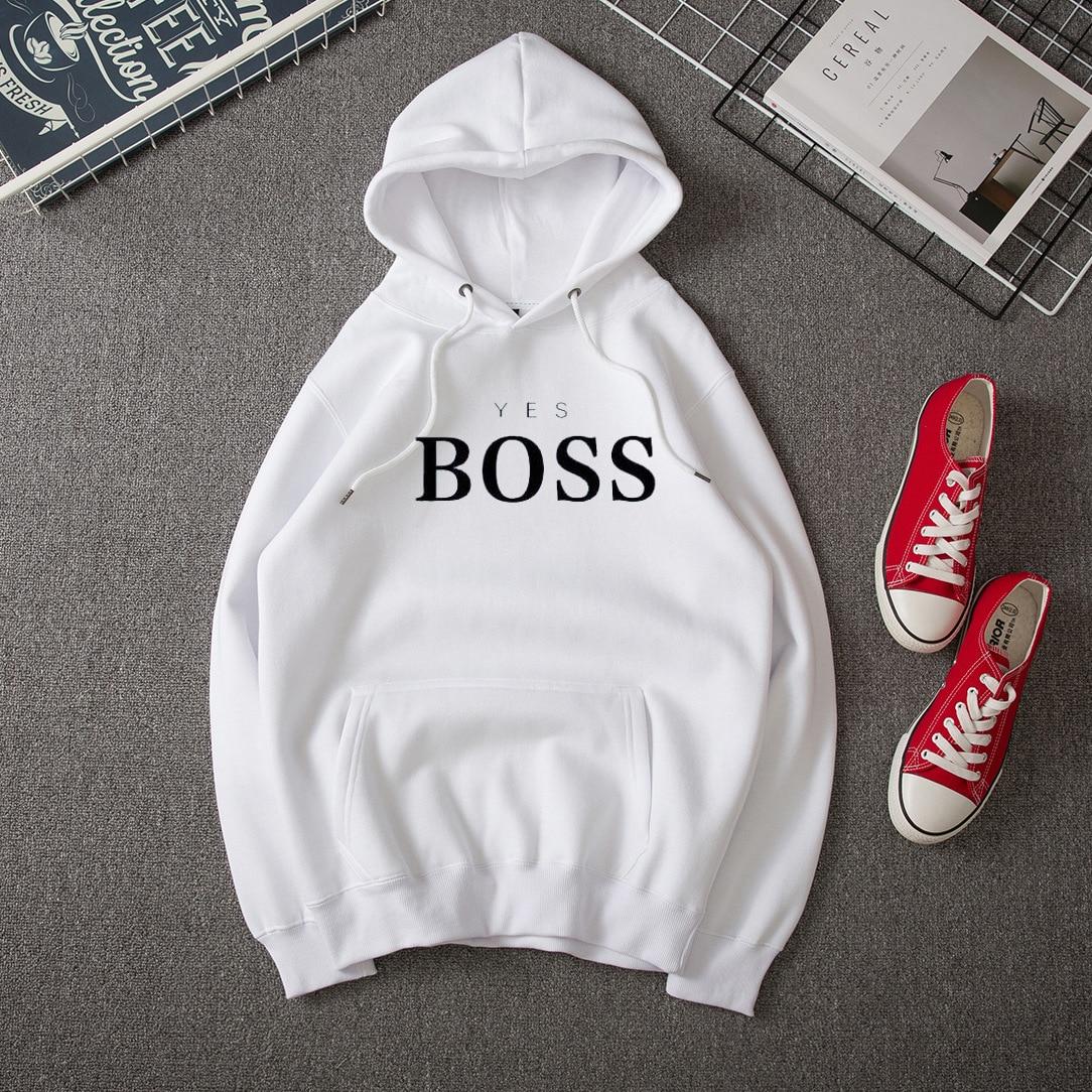 Yes Boss Letter Print Hoodies Women Sweatshirt Round Neck Long Sleeve Loose Hoodie With Hat Streetwear Moletom Sudadera Mujer