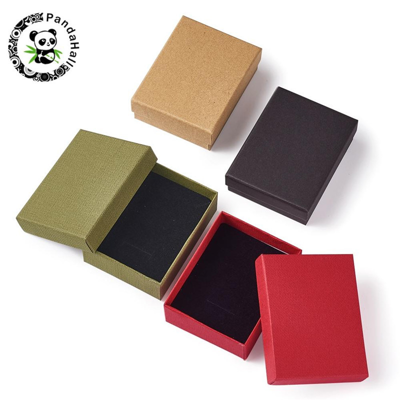 12pcs/lot 9x7x3cm Red Tan Black Olive Cardboard Jewelry Set Display Packaging Gift Box With Sponge Inside For Ring Necklace