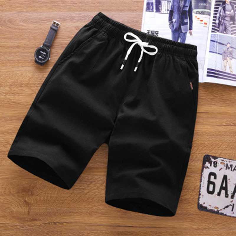 Summer Sports Shorts Men's Solid Color Tie Waist Loose Cotton Breathable Shorts Male Sports Casual Jogging Shorts