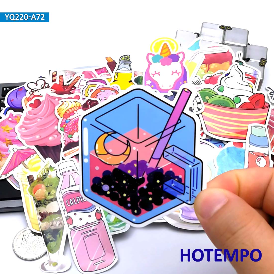 70pcs Cupcake Ice Cream Drinks Stickers for Girl Kids DIY Letter Diary Scrapbooking Stationery Mobile Phone Laptop Bike
