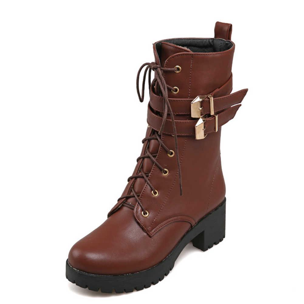 Vrouwen Britse Enkellaars Voor Vrouwen Schoenen mode dikke Hoge Hakken Schoenen Vrouw Schoenveters Rijlaarzen Vrouw big size 43