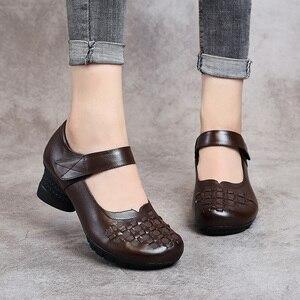 Image 3 - Женские туфли лодочки без застежки GKTINOO, весенне осенние туфли из натуральной кожи на толстом каблуке с круглым носком в стиле ретро