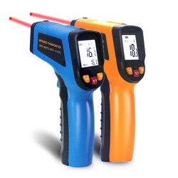 Ketotek cyfrowy laserowy termometr na podczerwień termometr LCD bezdotykowy C F wybór powierzchni pirometr temperatura zewnętrzna miernik w Termometry od Narzędzia na