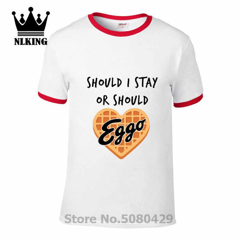 Herz waffel Eggo parody t shirts männer Sollte ICH Bleiben oder Sollte ICH Gehen Kurze Tops Tees Fremden Dinge Elf weiß text t-shrits
