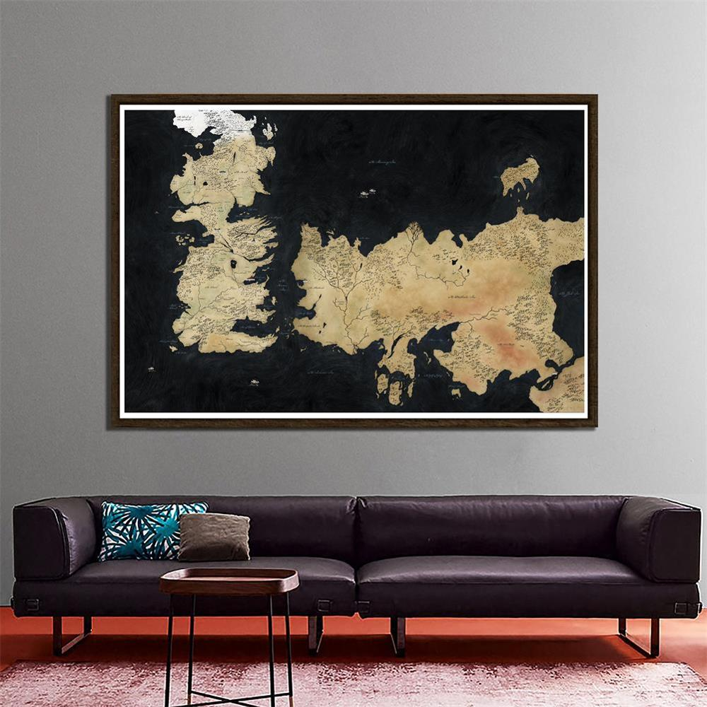 150x100cm Games Of Thrones World Map Home Internet Cafe Wall Decor Painting Poster Photo Studio Backdrops