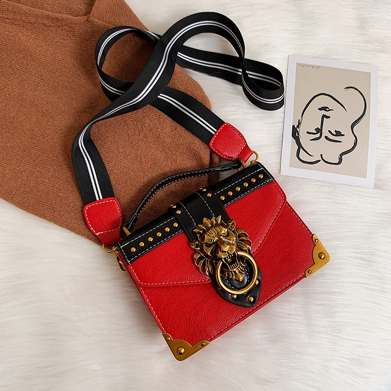 Hdf30e678192d493293314ce9fcc01015Z - Female Fashion Handbags Popular Girls Crossbody Bags Totes Woman Metal Lion Head  Shoulder Purse Mini Square Messenger Bag