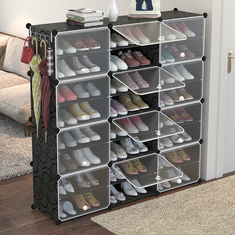 Multilayer Plastic Shoe Cabinet Dustproof Shoes Storage Organizer Modular Closet For Shoes Home Space-saving Shoe Rack With Door