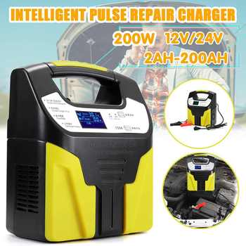 Automatic 12V/24V Car Storage Battery Charger LCD Intelligent Pulse 220V Repair for Lead Acid Lithium Battery 2AH-200AH image