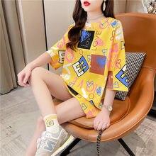 #4301 amarelo branco t camisa femme letras impressas camisetas femininas manga curta harajuku longo t camisa feminina algodão coreano moda