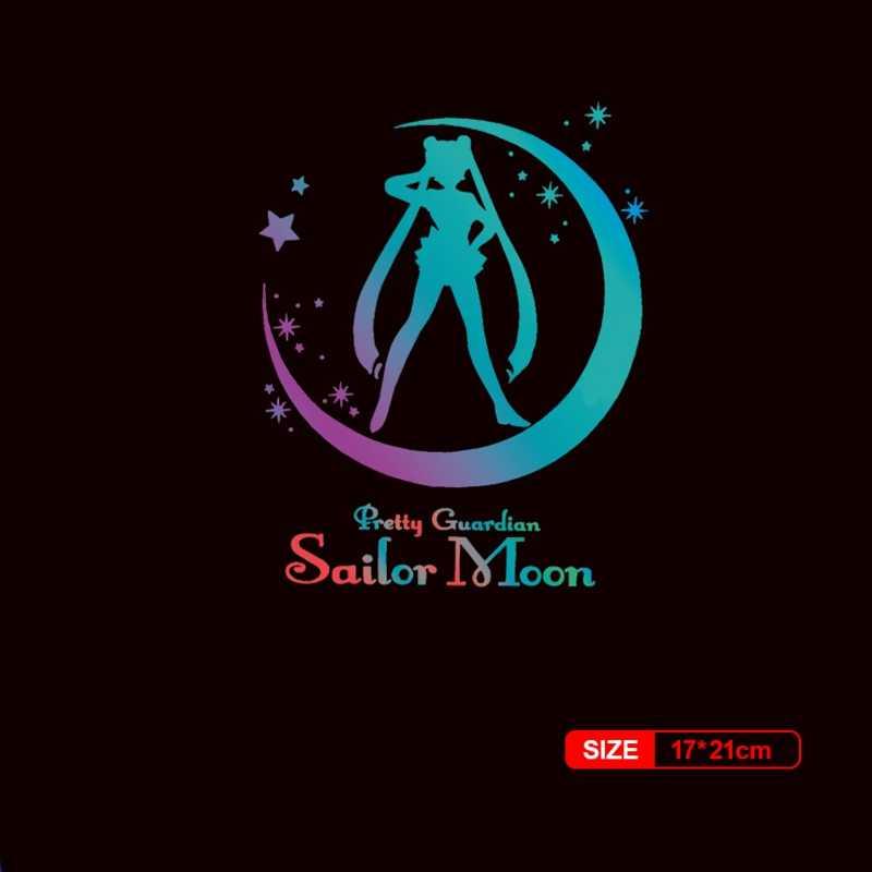 Sıcak Sailor Moon yamalar renkli yansıtıcı gökkuşağı ısı transferi vinil yapışkan demir-on transferi basın giysi DIY