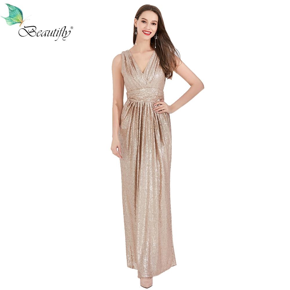 Long Beautifly Maxi Sexy Sequin   Dress   Nude V-Neck Floor-Length Zipper Back   Prom     Dresses