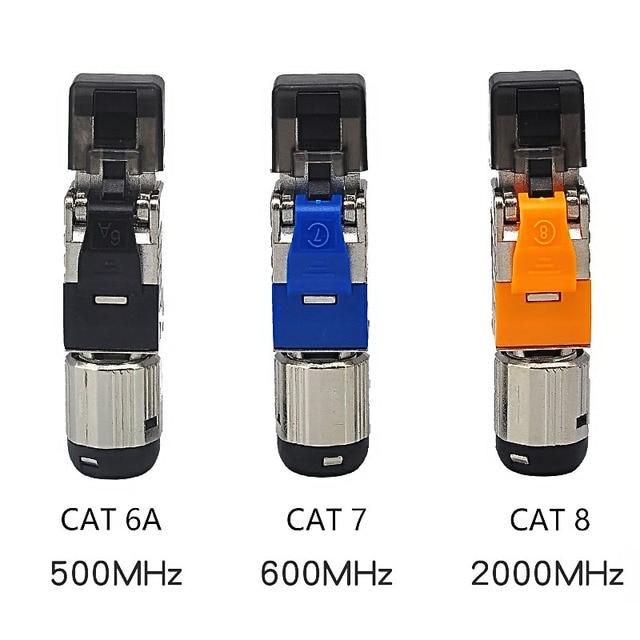Cat 6A Cat 7 Cat 8 RJ45 connecteurs sans outil Easy Jack blindage RJ45 métal moulé sous pression fiche de terminaison de champ Cat 7 Cat 8 22-24AWG