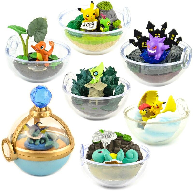 Japan Capsule Toys Cute Kawaii Pikachu Squirtle Psyduck Charizard Cubone Sandshrew Articuno Blind Box Scene Miniature Figures