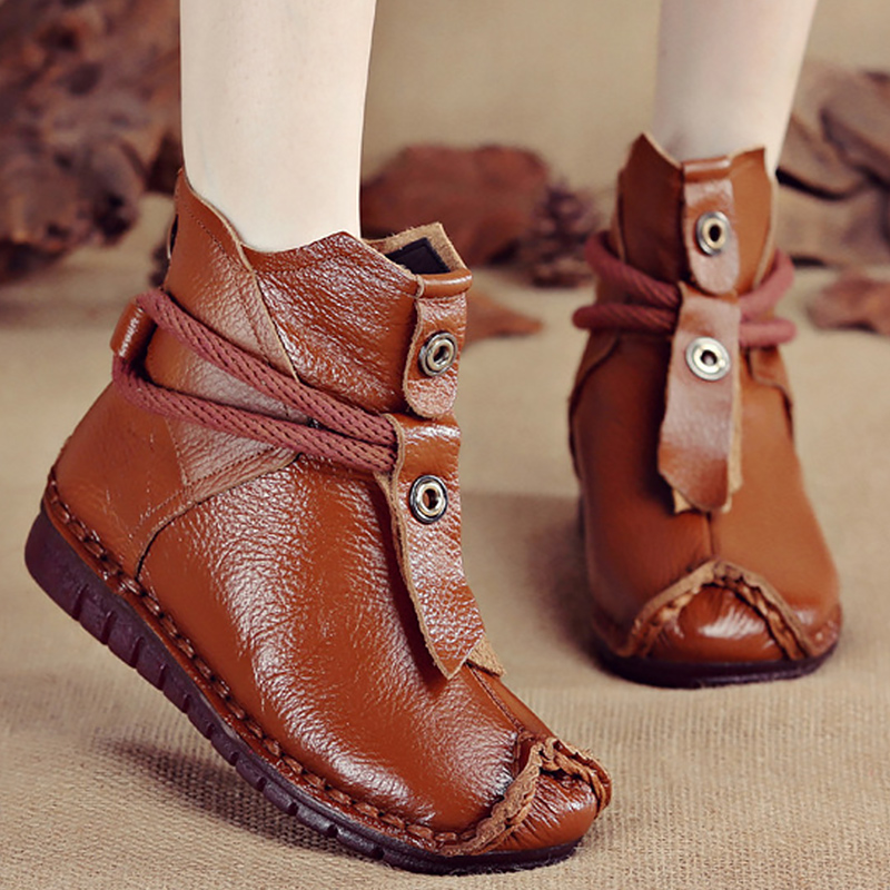 Women's Boots Genuine Leather Zipper Comfortable Ankle Boots For Women Rubber Solid Non Slip Winter Shoes Women Plush