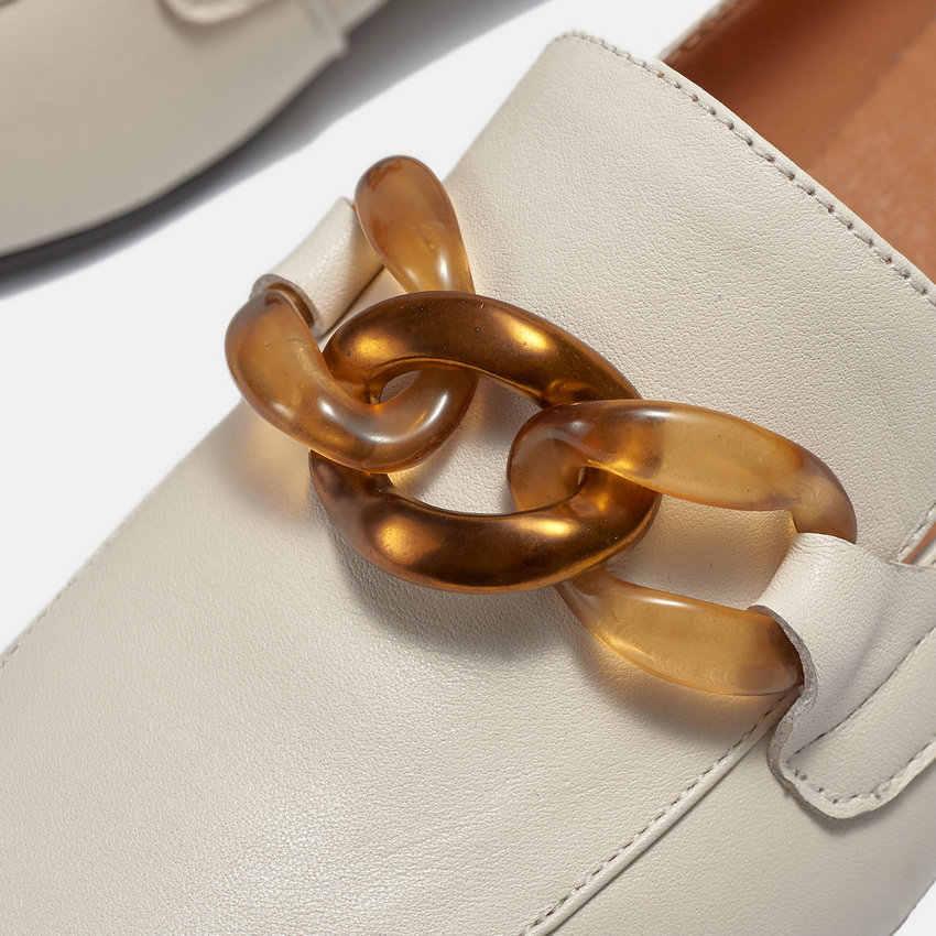 QUTAA 2020 Retro kare ayak kadınlar üzerinde kayma tek ayakkabı moda zincirleri kare topuk yumuşak inek deri kadın pompaları büyük boy 34-42
