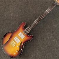 5 Strings Bass Guitar,CS Color Electric Guitar,Flamed Top,Natural Color Back,Hollow Body,Golden Hardware,Free Shipping