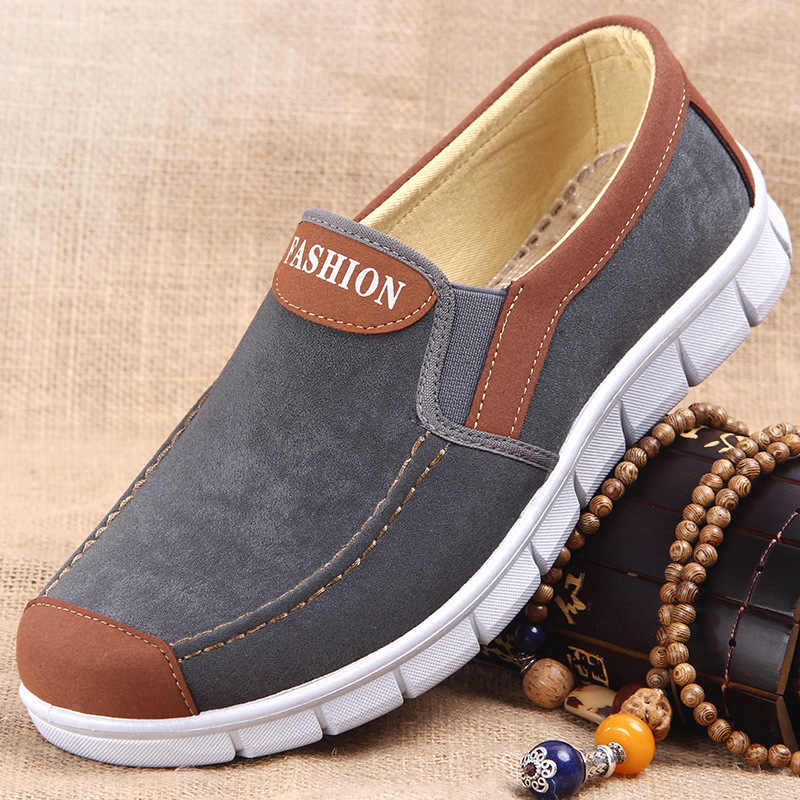 Men Canvas shoes  New Spring Summer Comfortable Canvas Men Casual Shoes Male Flat Loafers Shoes Men black 2019