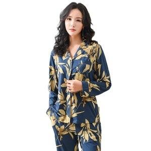 Image 5 - Spring Autumn Pajama Cotton Plush Lady Homewear Women Pyjamas Set Plus Size Floral Printing Women Pyjamas Navy Luxury Loungewear