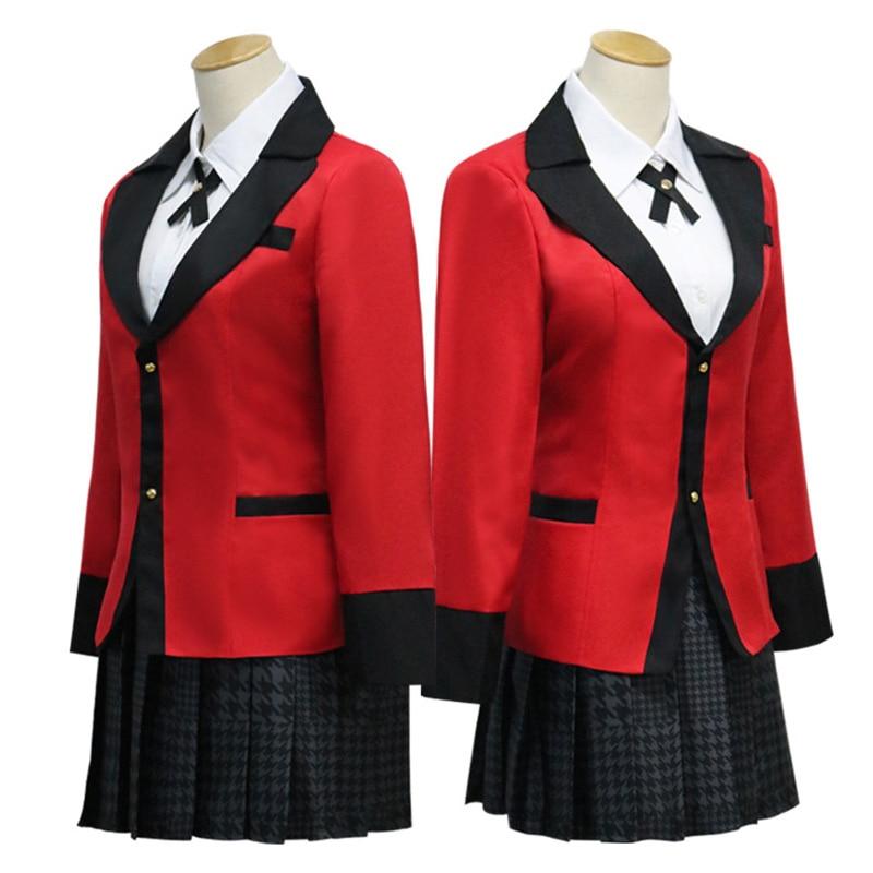 Anime Kakegurui Cosplay kostüm Jabami Yumeko Cosplay kostüm japon yüksek okul üniforması kız elbise kadın takım elbise