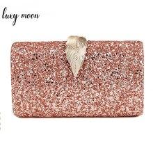 Bolsa de mão feminina ouro rosa, bolsa de mão feminina transversal de metal zd1076