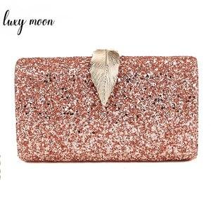 Image 1 - Women Clutch Bags Day Clutches Pink Gold Purse for Wedding Crossbody Bags for Women 2019 Metal Leaf Lock Female Handbag ZD1076