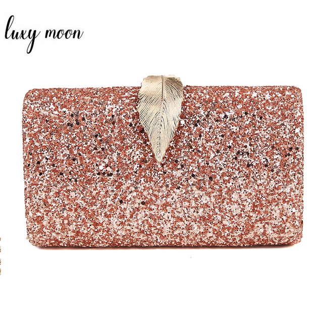 Women Clutch Bags Day Clutches Pink Gold Purse for Wedding Crossbody Bags for Women 2019 Metal Leaf Lock Female Handbag ZD1076