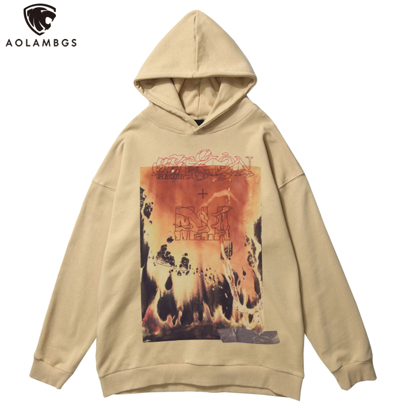 Aolamegs Flame Accident Action Movie Vintage Letter Print Hoodies Men Punk High Street Hipster Hooded Pullover Streetwear Autumn