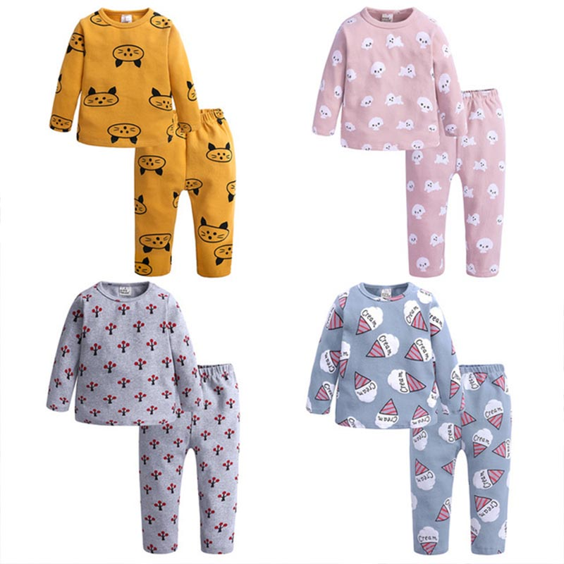 Spring Autumn New Knitted Cotton Homewear Suit Cute Printed 4 Colos 2PCS Girl Boy Long Sleeve Top Trousers Casual Pajama Outfit 1
