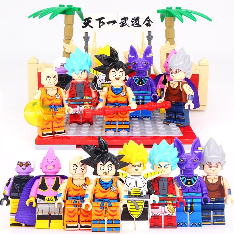 8PCS/set Legoinglys Dragon Ball Z Figures Building Blocks Vegeta Goku The First Budokan In The World Ball Building Blocks Gift