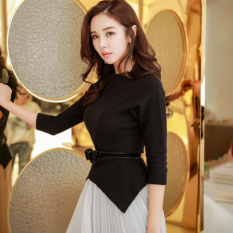 Dabuwawa Solid -O-Neck Ribbed Knit Casual Sweater Women Tops  Form Fitted Ladies Basic Sweaters Irregular Hem D18CJS029