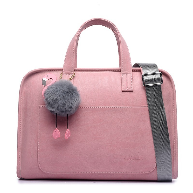 Business Briefcase Laptop Bag 13.3 14 15.6Inch Fashion Frosted Leather Flamingo Pendant Waterproof Office Bags For Women
