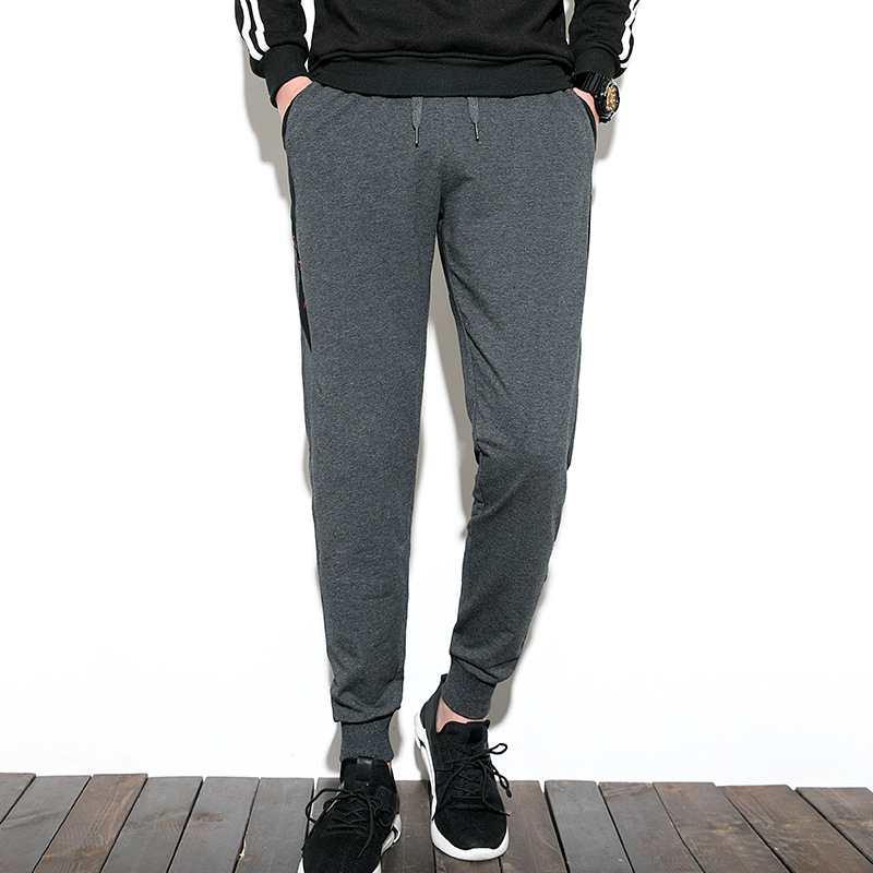 Pants MEN'S Casual Pants Winter Plus Velvet Korean-style Sweatpants Ankle Banded Pants Pure Cotton Skinny Closing Knit Athletic