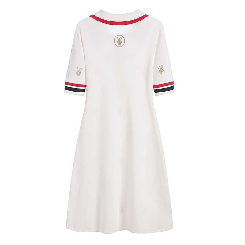 2020 frühling Sommer Stricken Cartoon Bestickt Polo Kleid Frau Plus Größe Schwarz Casual Knie-länge Gerade Kleider Weibliche