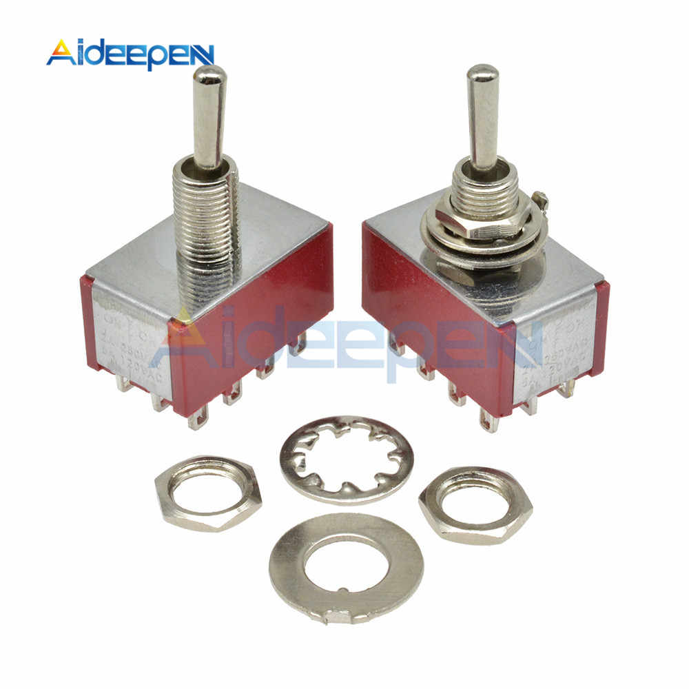 MTS-403 On-Off-On Toggle Switch 3 Posisi 12 PIN 120V 5A 250V 2A Mini Miniatur toggle Switch 13*22 Mm (MTS403)