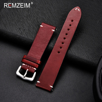 REMZEIM Cow Leather Watchband 18mm 20mm 22mm 24mm Vintage Men Women Replacement Bracelet Strap Band Watch Accessories - discount item  50% OFF Watches Accessories