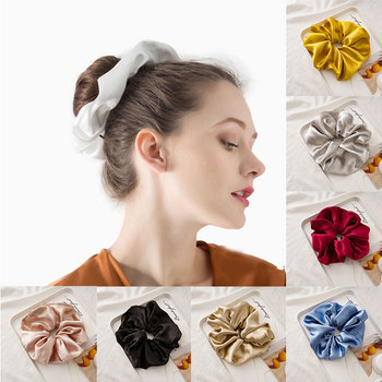 Pure Color Glossy Hair Ring Oversized Hair Scrunchies For Women Glitter Smooth Satin Hair Rope Ties Ponytail Hair Accessories image