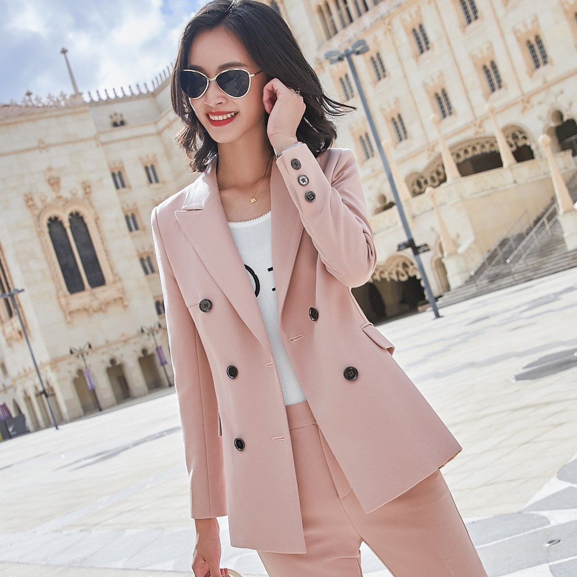 Plus size women high-quality professional women's pants Autumn and winter double-breasted ladies jacket suit Office work clothes