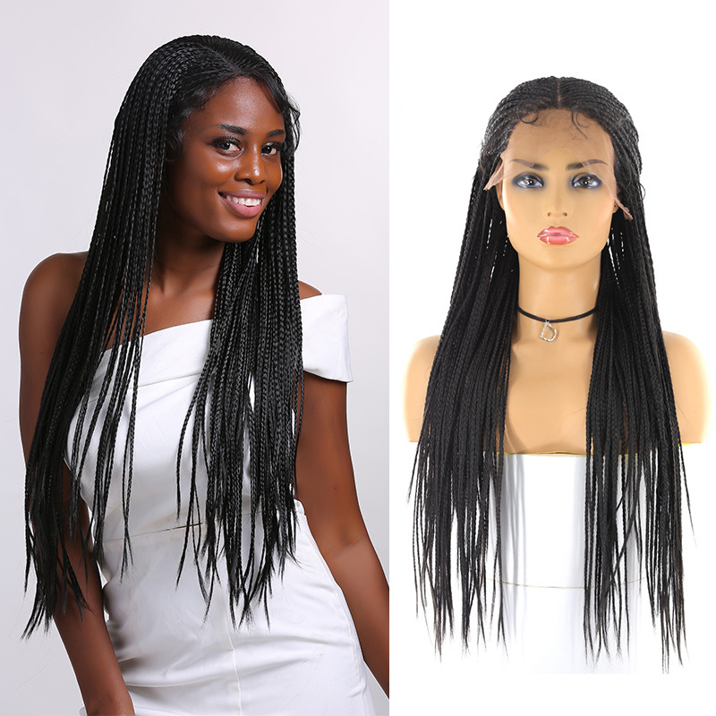24Inch Synthetic Braid Wigs For Black Women SOKU 13*6 Lace Front Synthetic Wigs African American  Long Tendy Braided Wigs